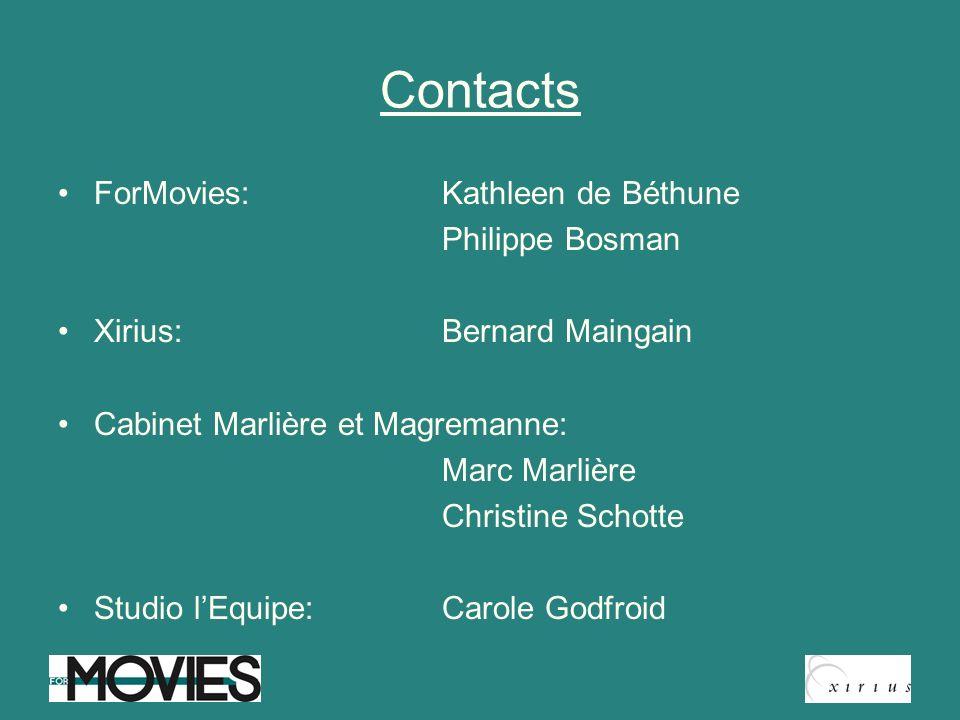 Contacts ForMovies: Kathleen de Béthune Xirius: Bernard Maingain