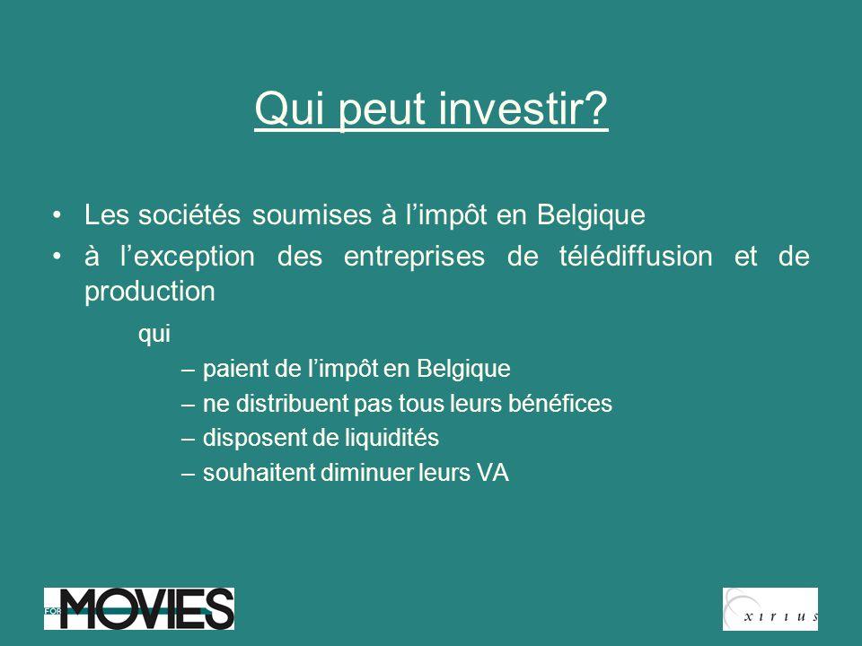Qui peut investir Les sociétés soumises à l'impôt en Belgique