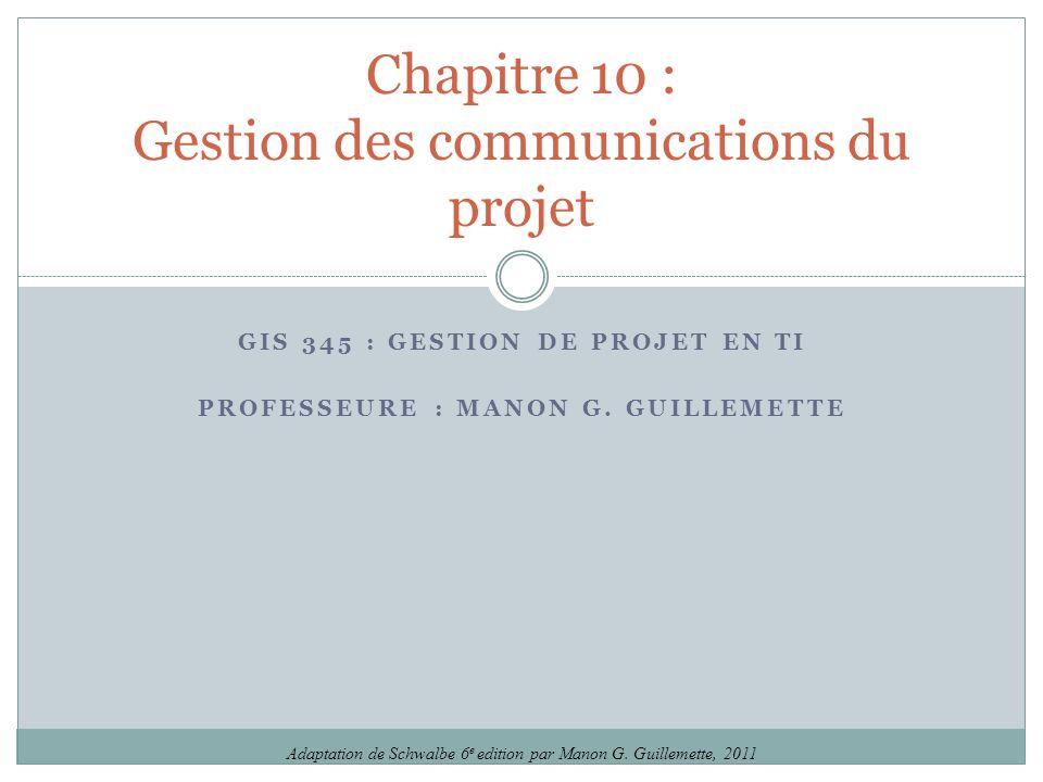 Chapitre 10 : Gestion des communications du projet