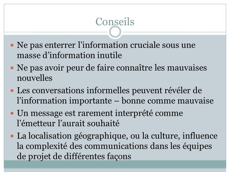 Conseils Ne pas enterrer l'information cruciale sous une masse d'information inutile. Ne pas avoir peur de faire connaître les mauvaises nouvelles.