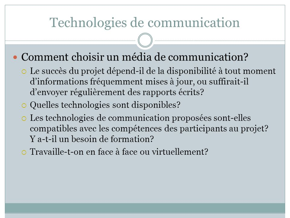 Technologies de communication