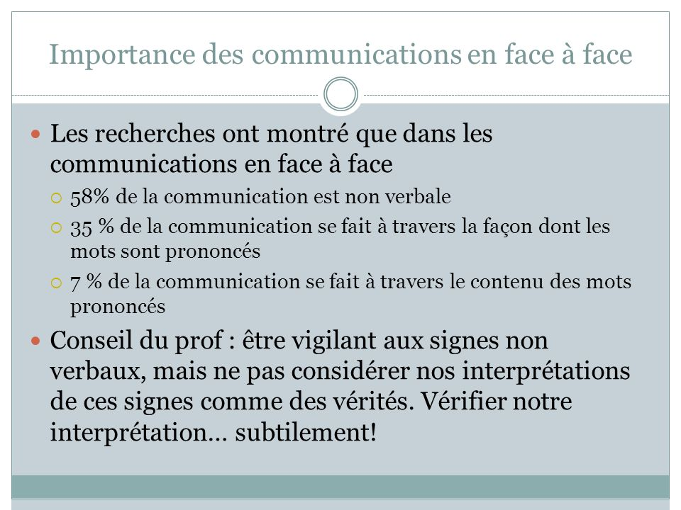 Importance des communications en face à face