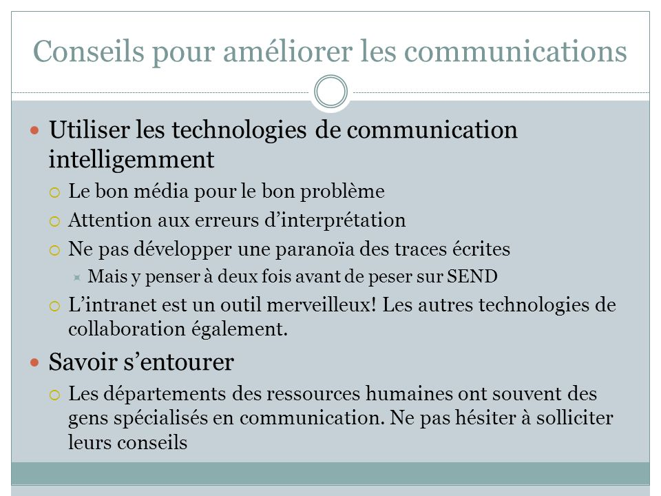Conseils pour améliorer les communications
