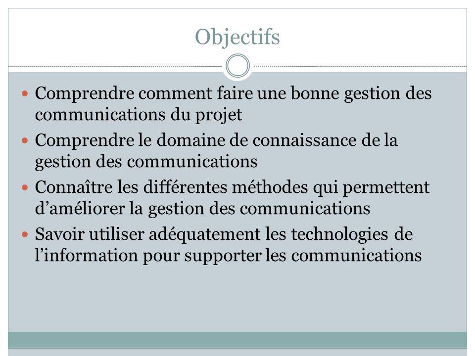 Objectifs Comprendre comment faire une bonne gestion des communications du projet.