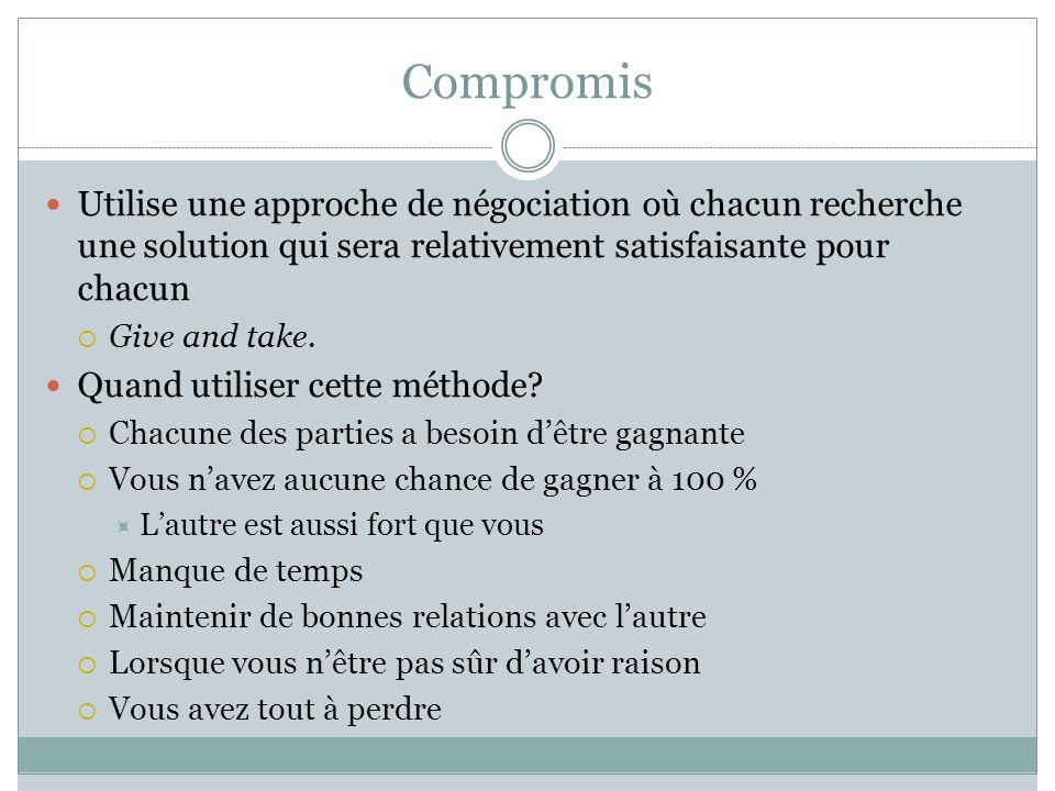 Compromis Utilise une approche de négociation où chacun recherche une solution qui sera relativement satisfaisante pour chacun.