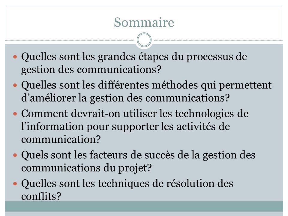 Sommaire Quelles sont les grandes étapes du processus de gestion des communications
