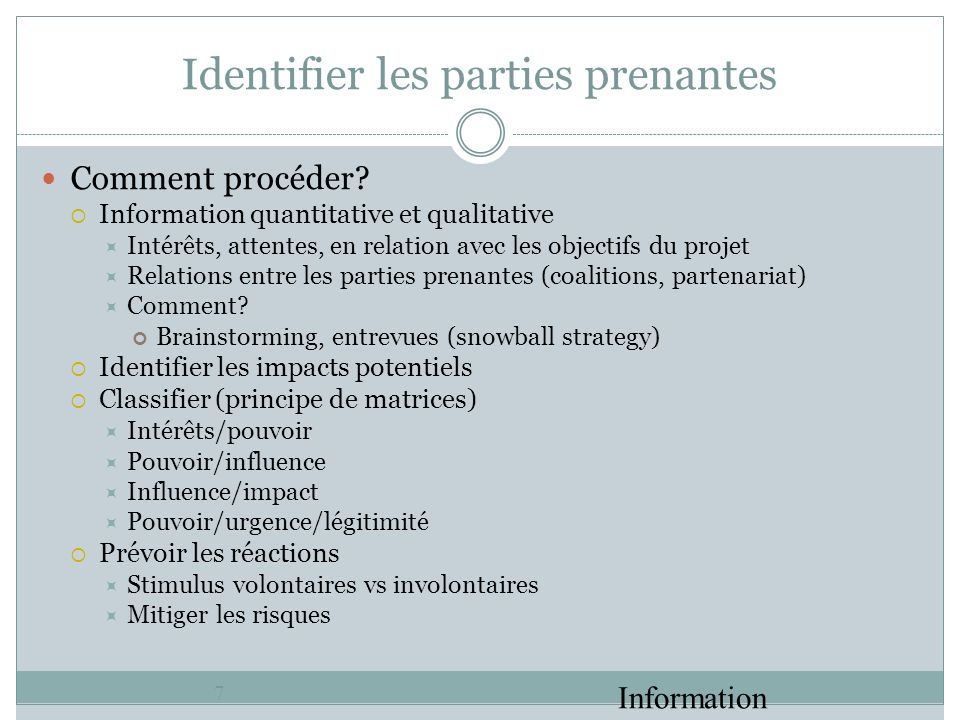 Identifier les parties prenantes