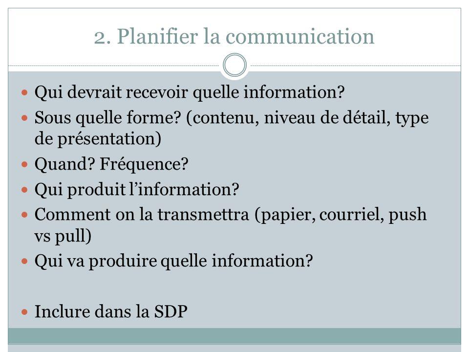 2. Planifier la communication