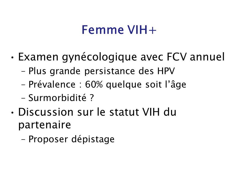 Femme VIH+ Examen gynécologique avec FCV annuel