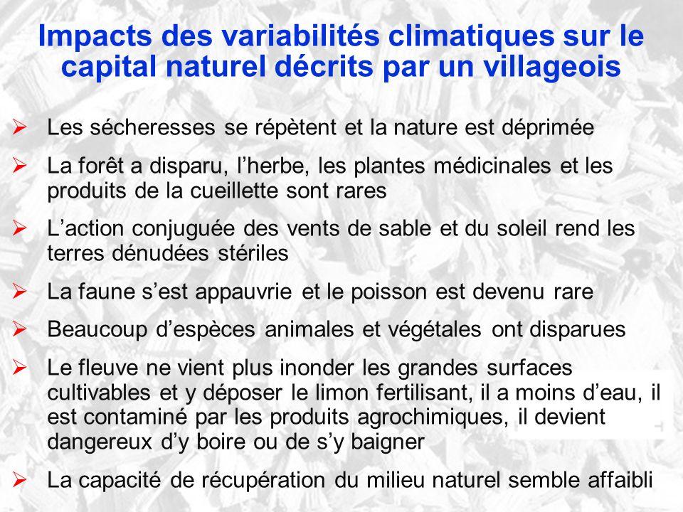 Impacts des variabilités climatiques sur le capital naturel décrits par un villageois