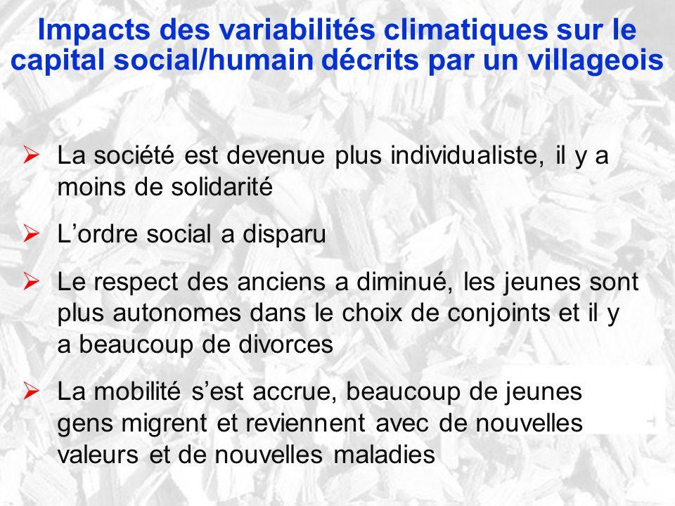 Impacts des variabilités climatiques sur le capital social/humain décrits par un villageois