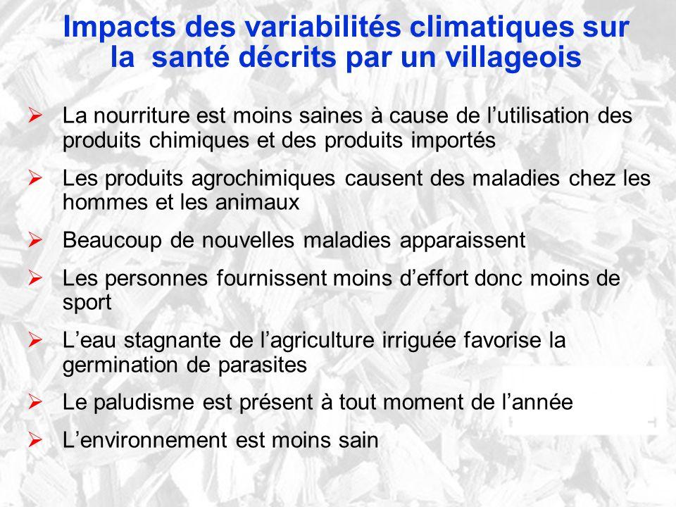 Impacts des variabilités climatiques sur la santé décrits par un villageois