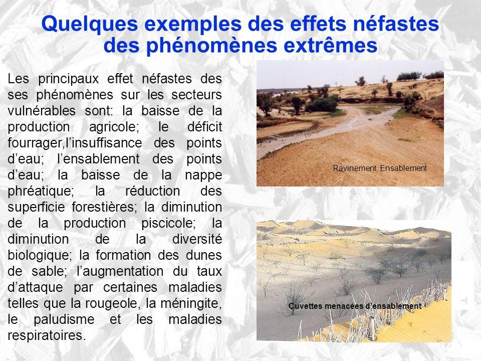 Quelques exemples des effets néfastes des phénomènes extrêmes