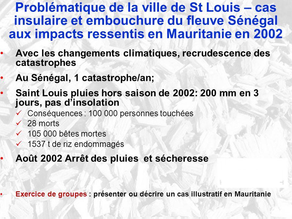 Problématique de la ville de St Louis – cas insulaire et embouchure du fleuve Sénégal aux impacts ressentis en Mauritanie en 2002