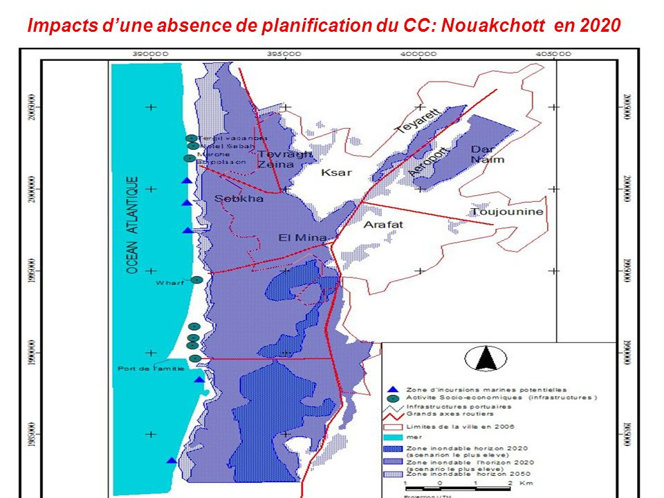 Impacts d'une absence de planification du CC: Nouakchott en 2020