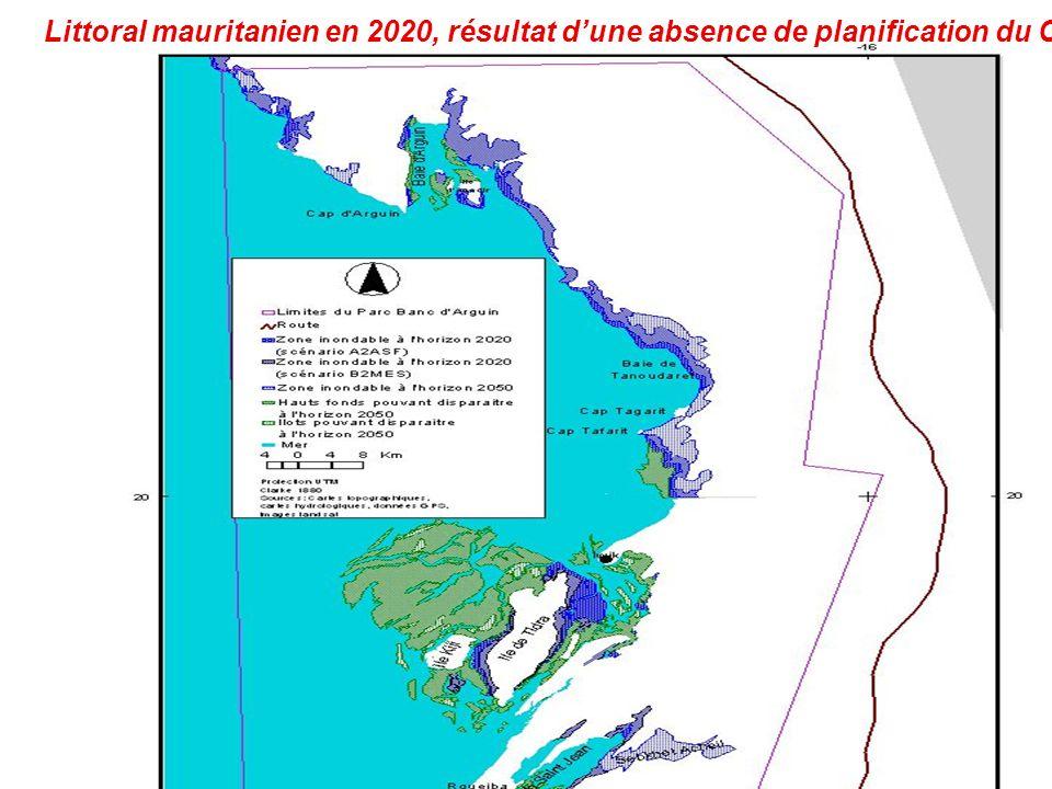 Littoral mauritanien en 2020, résultat d'une absence de planification du CC