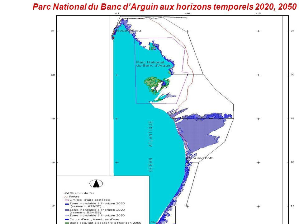 Parc National du Banc d'Arguin aux horizons temporels 2020, 2050