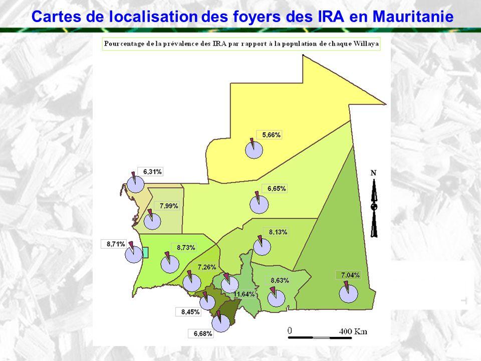 Cartes de localisation des foyers des IRA en Mauritanie