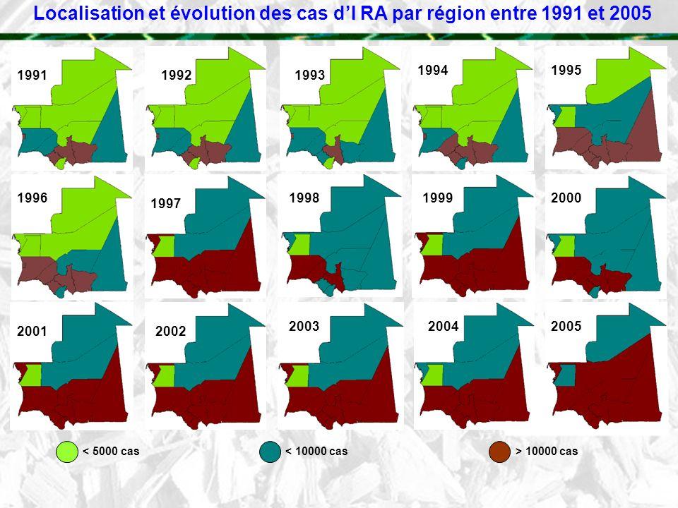 Localisation et évolution des cas d'I RA par région entre 1991 et 2005