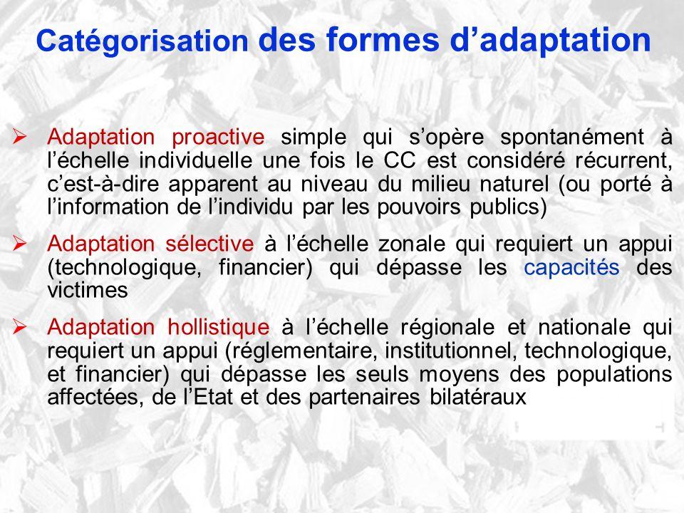 Catégorisation des formes d'adaptation