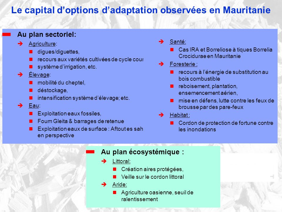 Le capital d'options d'adaptation observées en Mauritanie