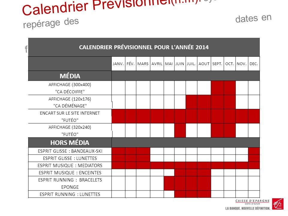 CALENDRIER PRÉVISIONNEL POUR L ANNÉE 2014