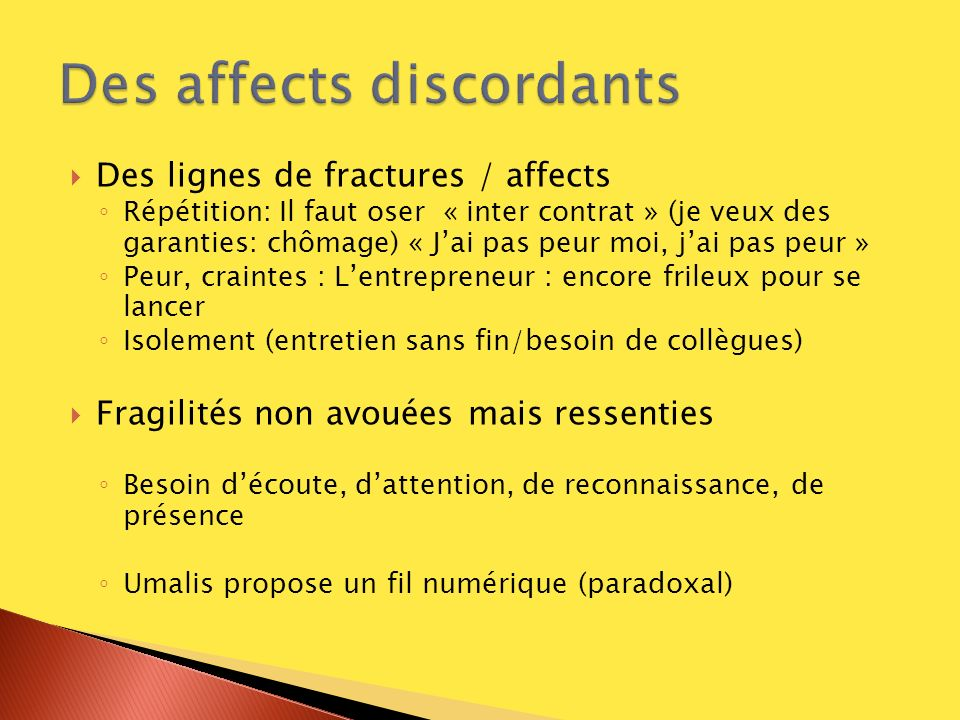Des affects discordants