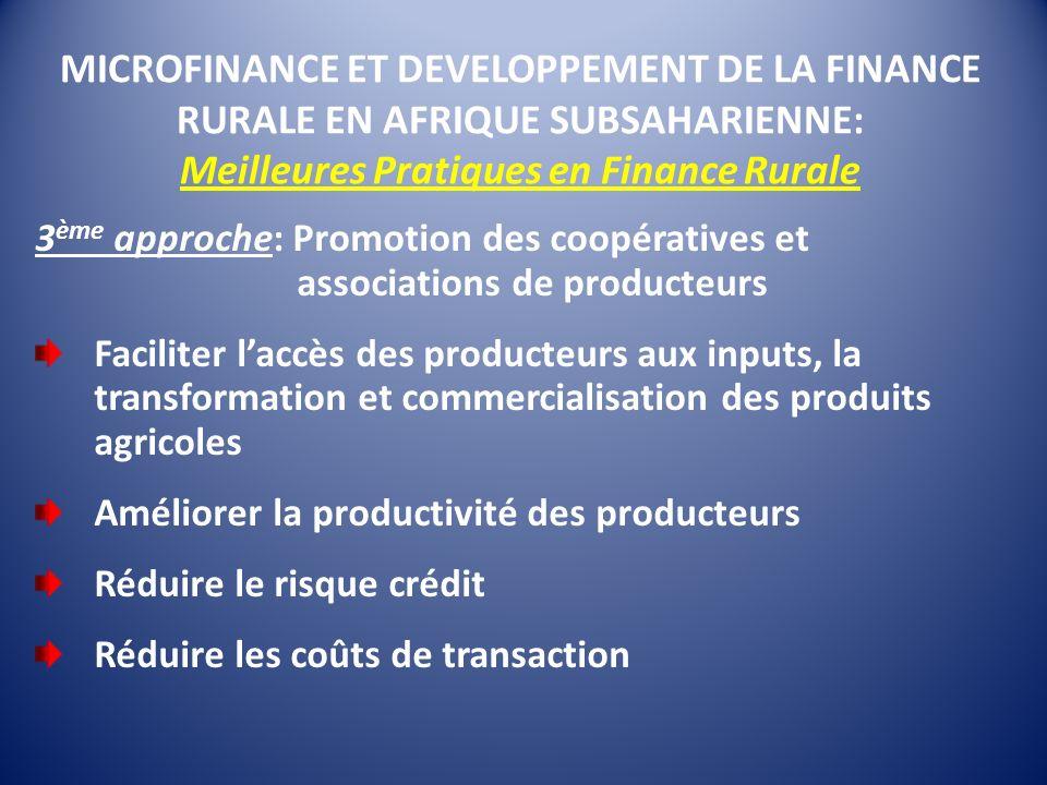 MICROFINANCE ET DEVELOPPEMENT DE LA FINANCE RURALE EN AFRIQUE SUBSAHARIENNE: Meilleures Pratiques en Finance Rurale