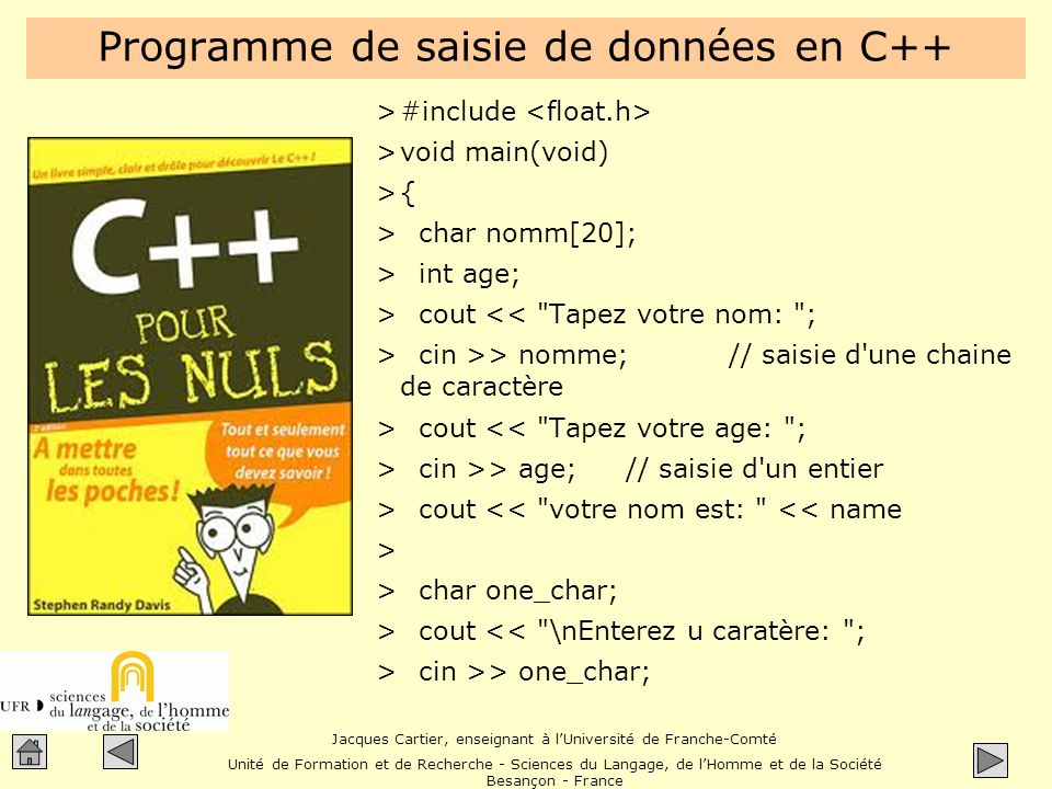 Programme de saisie de données en C++