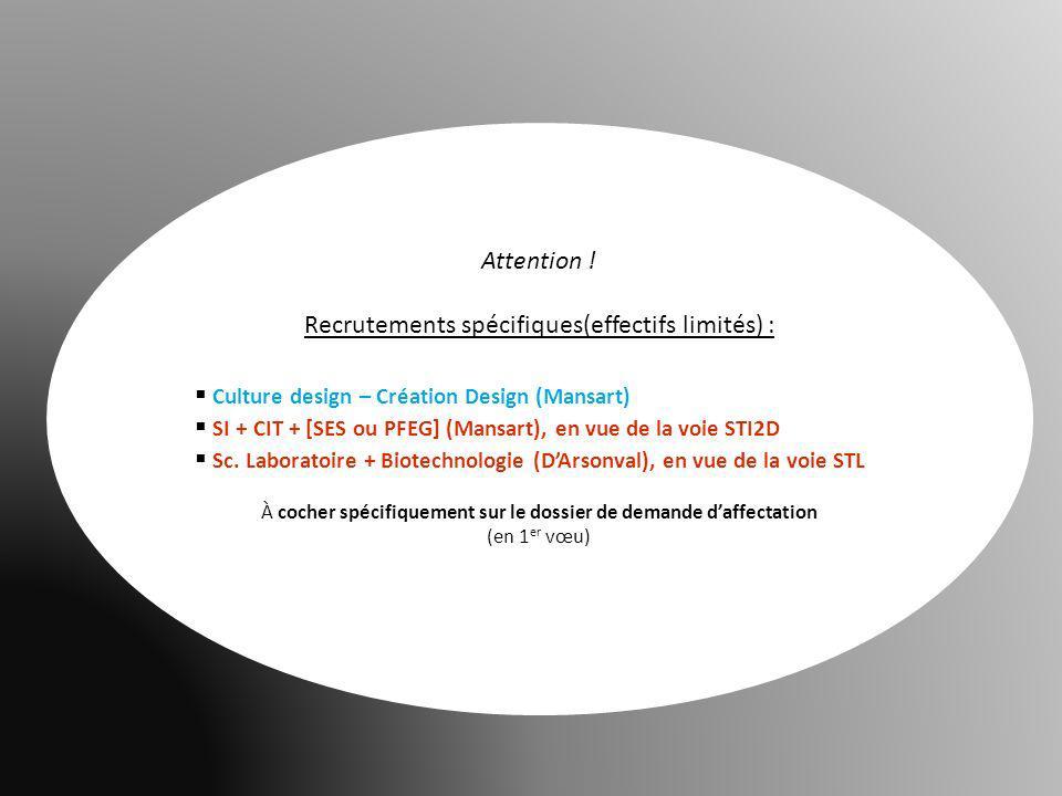 Recrutements spécifiques(effectifs limités) :