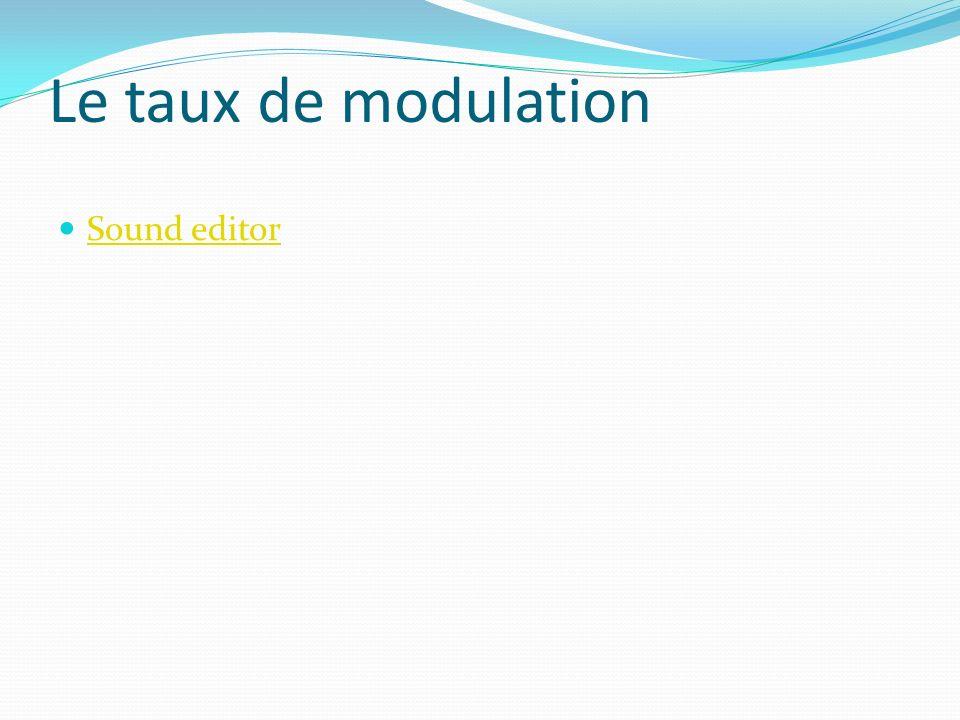 Le taux de modulation Sound editor