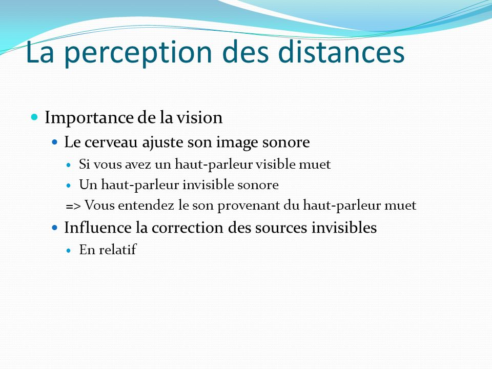 La perception des distances
