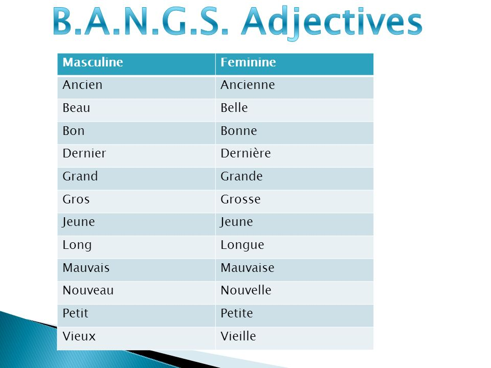 B.A.N.G.S. Adjectives Masculine Feminine Ancien Ancienne Beau Belle