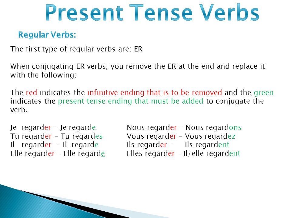 Present Tense Verbs Regular Verbs: