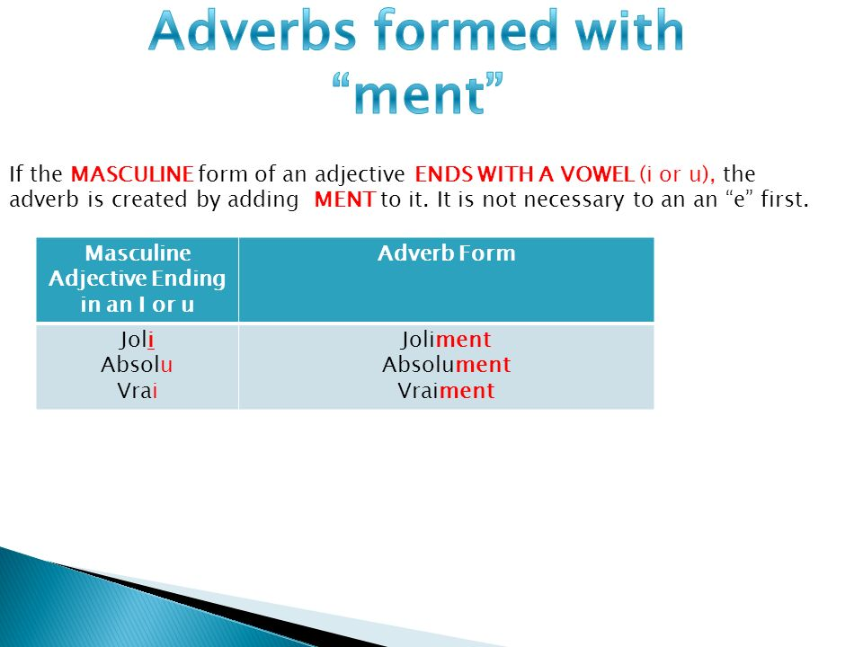 Adverbs formed with ment Adjective Ending in an I or u