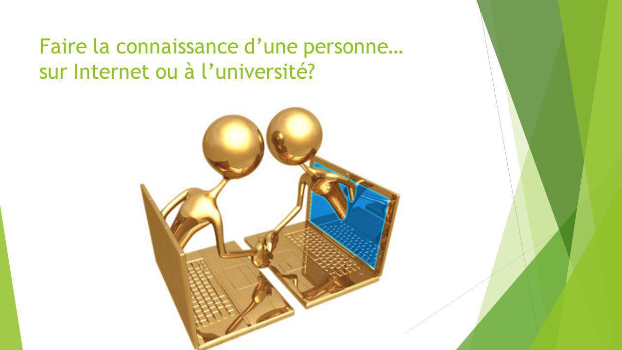 Faire la connaissance d'une personne… sur Internet ou à l'université