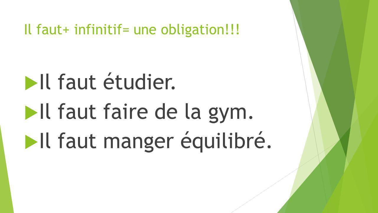 Il faut+ infinitif= une obligation!!!