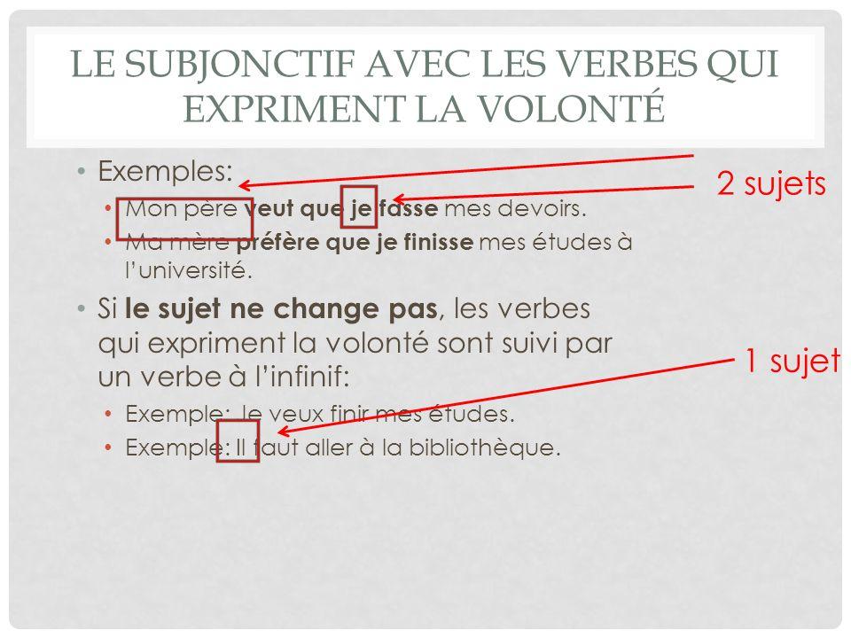 Le subjonctif avec les verbes qui expriment la volonté