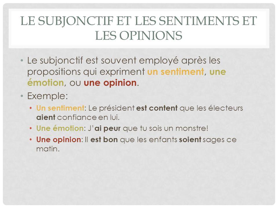 Le subjonctif et les sentiments et les opinions