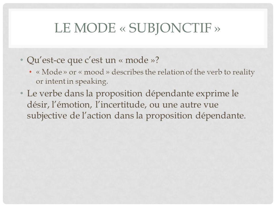 Le mode « subjonctif » Qu'est-ce que c'est un « mode »