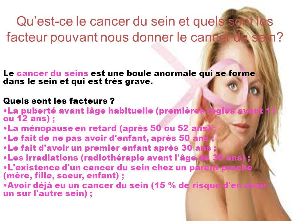 Qu'est-ce le cancer du sein et quels sont les facteur pouvant nous donner le cancer du sein