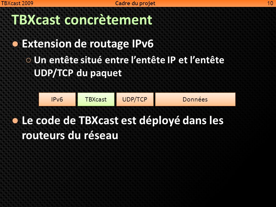 TBXcast concrètement Extension de routage IPv6