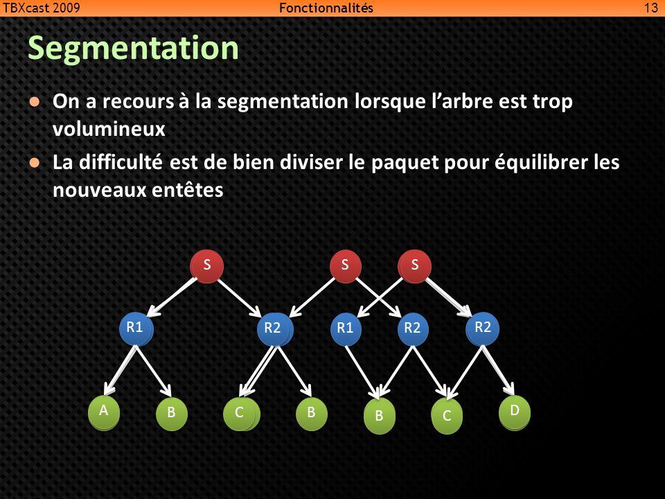 TBXcast 2009 Fonctionnalités. Segmentation. On a recours à la segmentation lorsque l'arbre est trop volumineux.