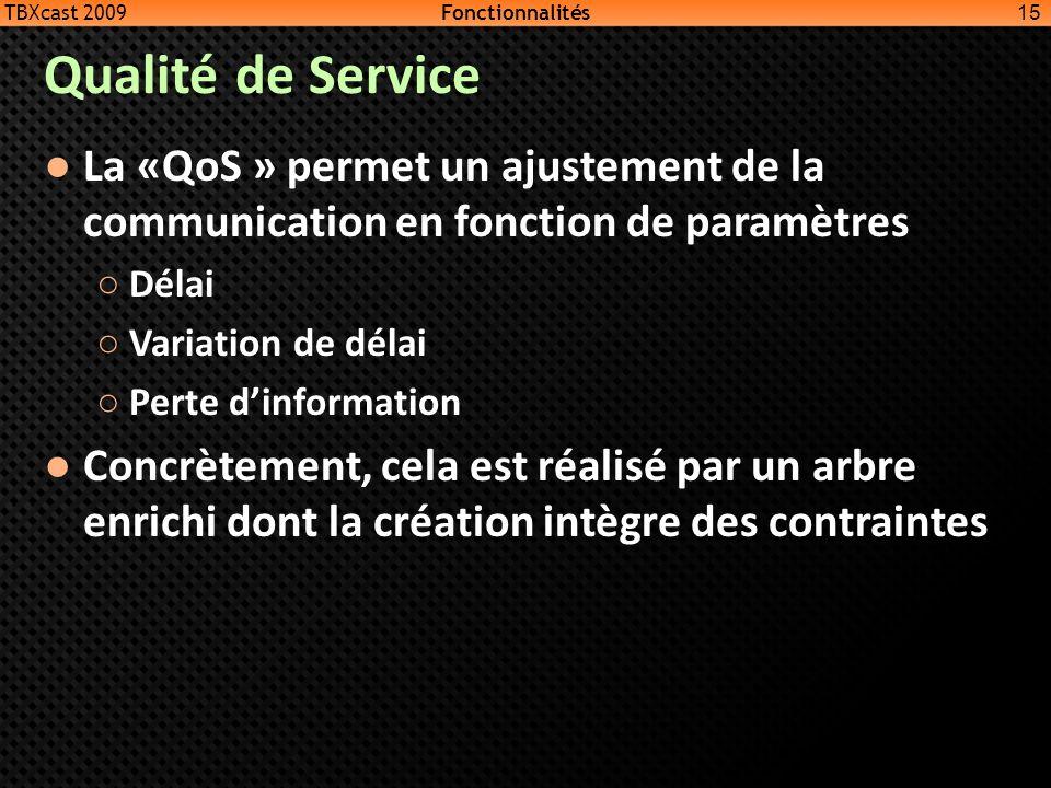 TBXcast 2009 Fonctionnalités. Qualité de Service. La «QoS » permet un ajustement de la communication en fonction de paramètres.