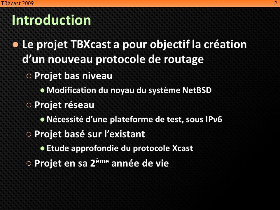 TBXcast 2009 Introduction. Le projet TBXcast a pour objectif la création d'un nouveau protocole de routage.
