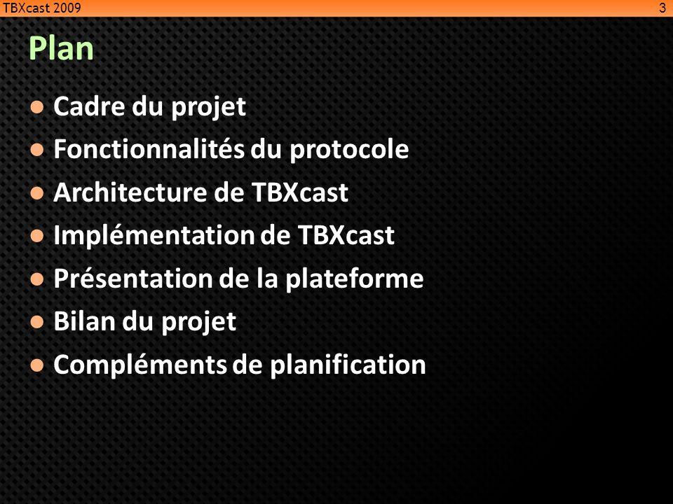 Plan Cadre du projet Fonctionnalités du protocole
