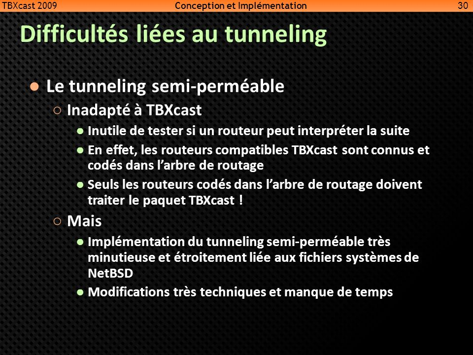 Difficultés liées au tunneling