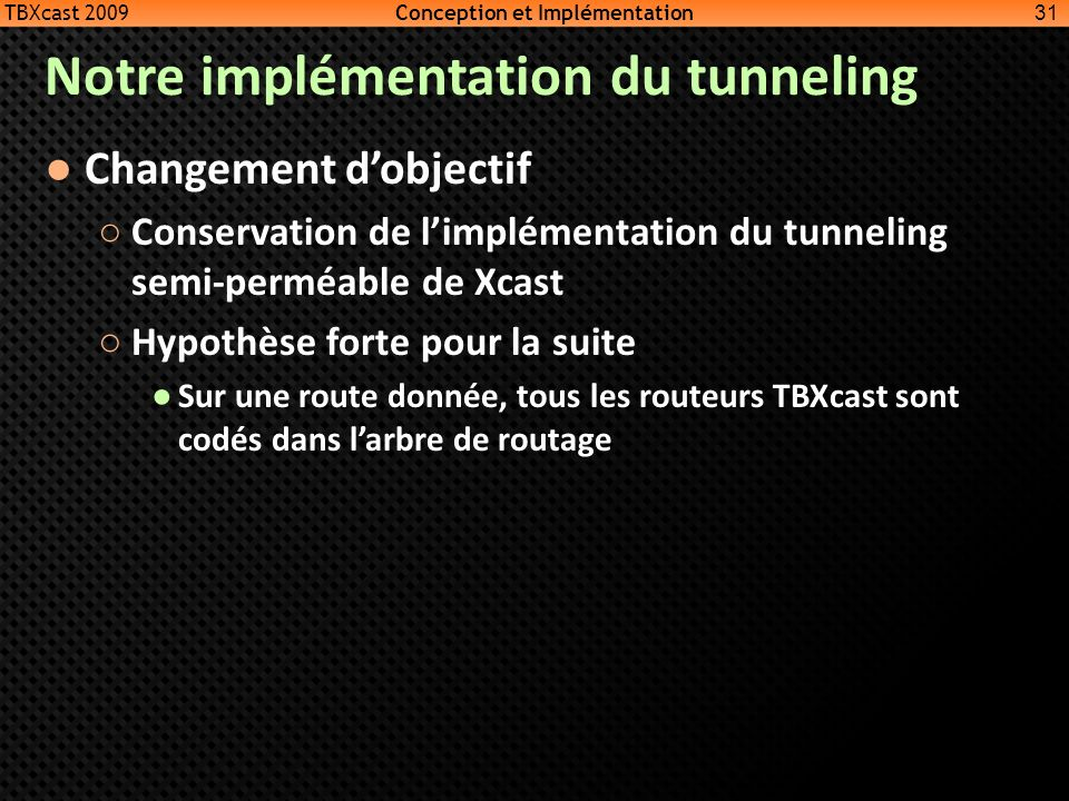 Notre implémentation du tunneling