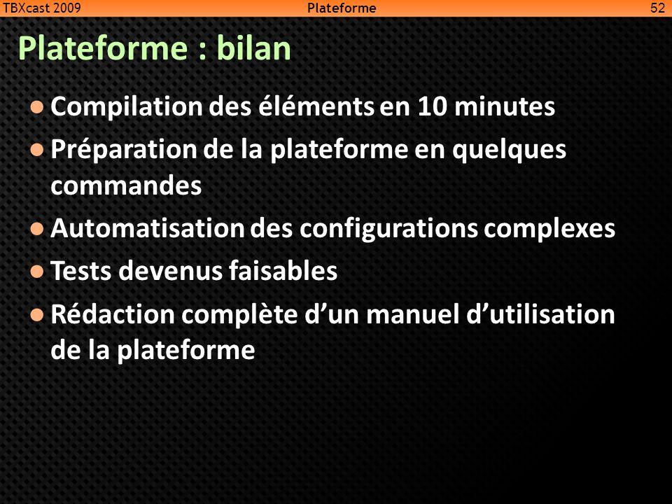 Plateforme : bilan Compilation des éléments en 10 minutes