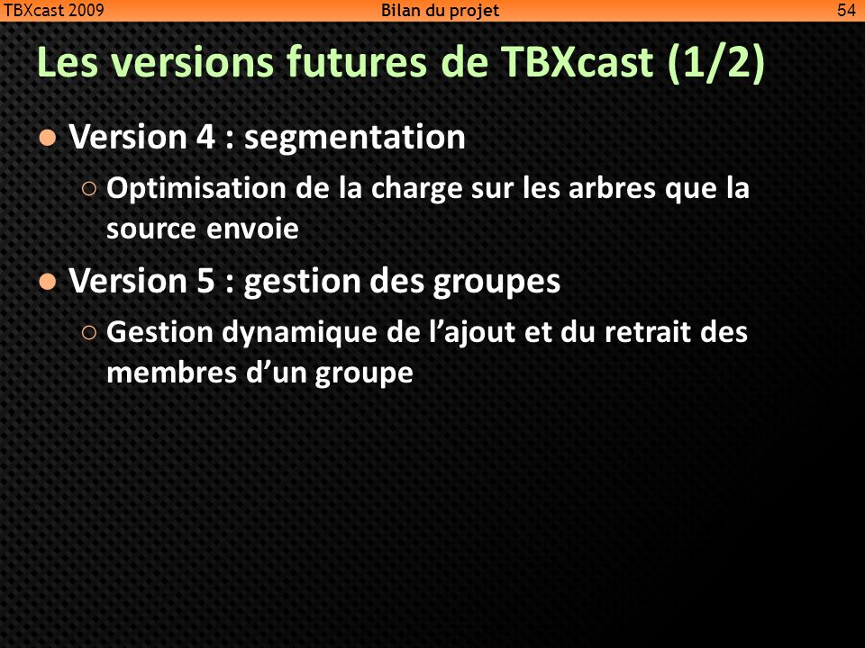 Les versions futures de TBXcast (1/2)